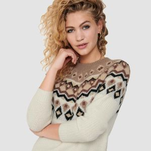 Only Women's Knit ONLAMBER JAQUARD L/S PULLOVER (15206760)