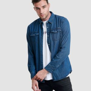 Funky Buddha Men's Denim Shirt (FBM002-061-05)